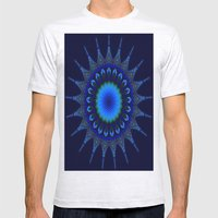 Blue Kaleidoscope Fracta… Mens Fitted Tee Ash Grey SMALL