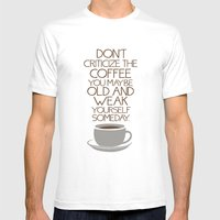 Coffee Warning Mens Fitted Tee White SMALL