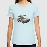 Stormtrooper in a DeLorean - waiting for the car club Womens Fitted Tee Light Blue SMALL