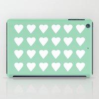 16 Hearts Mint iPad Case