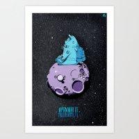 Astronaut On The Moon. Art Print