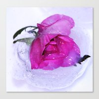 Frozen floating roses Canvas Print