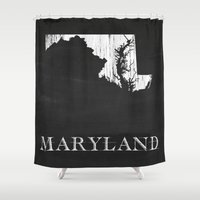 Maryland State Map Chalk… Shower Curtain