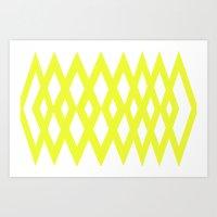 Yellow Diamonds Art Print