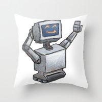 Happy Bot Throw Pillow