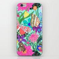 Butterflies and Moths Pattern - Blue iPhone & iPod Skin