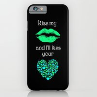 iPhone & iPod Case featuring Kiss My Lips and I'll Kiss Your Heart (black) by Karma Cases