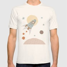 spaceship collage Mens Fitted Tee Natural SMALL