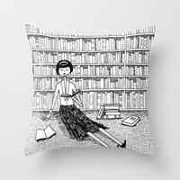 She just wanted to read books and do nothing else Throw Pillow