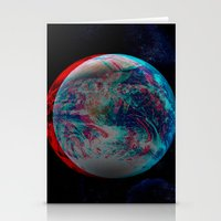 Earth Anaglyph  Stationery Cards