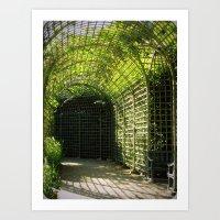 Under the garden arches of Versailles  Art Print