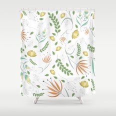 Floral white pattern Shower Curtain