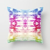Tie Dye Rainbow Throw Pillow
