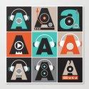 Audio vintage music typography illustration Canvas Print