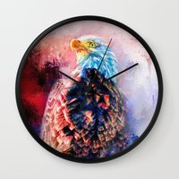 Jazzy Bald Eagle Colorful Bird Art by Jai Johnson Wall Clock