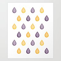Yellow and purple raindrops Art Print