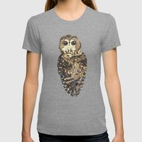 Northern Spotted Owl. Womens Fitted Tee Tri-Grey SMALL