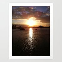 Canary Wharf at Low Sunset Art Print