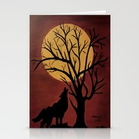 Full Moon/red Stationery Cards