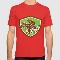 Jockey Horse Racing Shie… Mens Fitted Tee Red SMALL