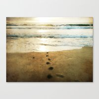 Tracks Into the Sea Canvas Print