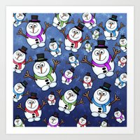 Frosties The Snowmen. Art Print
