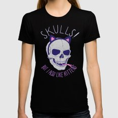 Skulls and Kittens Womens Fitted Tee Black SMALL