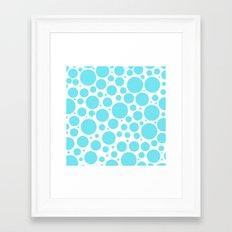 Aqua polka dots- pattern  Framed Art Print