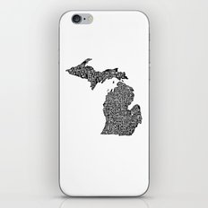 Typographic Michigan iPhone & iPod Skin