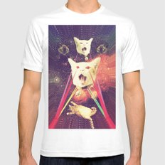 galactic Cats Saga 4 SMALL Mens Fitted Tee White