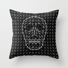 Triangle and Line Art Skull Throw Pillow