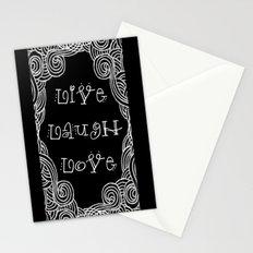 Live Laugh Love Black Stationery Cards