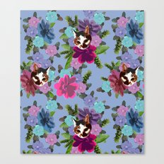 Floral Cat - Serenity Canvas Print
