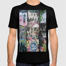 On the wall ... Black SMALL Mens Fitted Tee