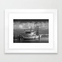 Black and White Fishing Boat Miss Ash at Sunrise by Aransas Pass Harbor in Corpus Christi Bay Framed Art Print