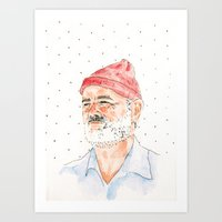 bill murray Art Prints featuring Bill Murray by Andrea makes cool stuff