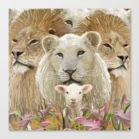 Lions led by a lamb Canvas Print