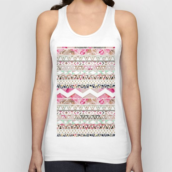 Aztec Spring Time! | Girly Pink White Floral Abstract Aztec Pattern Unisex Tank Top