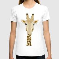 Golden Glitter Giraffe Womens Fitted Tee White SMALL