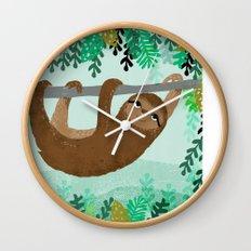 Sloth - by Andrea Lauren Wall Clock