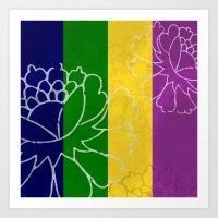Chinese Flowers & Stripes - Purple Yellow Green Blue Art Print