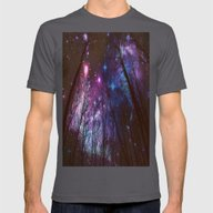 Black Trees Dark Space.  Mens Fitted Tee Asphalt SMALL