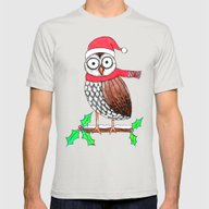 Festive Owl Mens Fitted Tee Silver SMALL