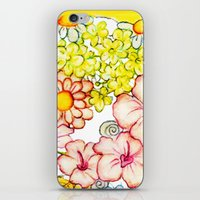 Yellow Hibiscus Cat in Silhouette iPhone & iPod Skin