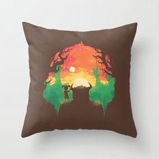 Sunset with a friend Throw Pillow