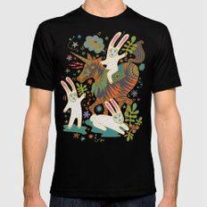 Three Rabbits and a Unicorn Mens Fitted Tee Black SMALL
