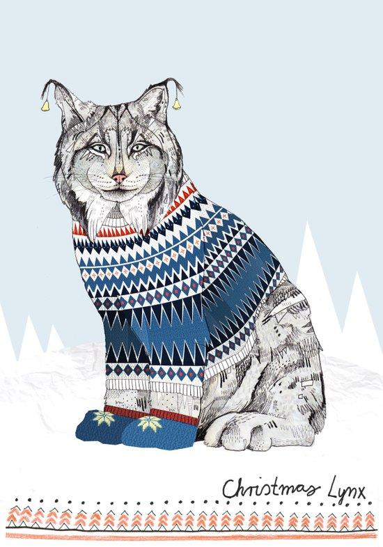 Christmas Lynx // Festive Furries No.1 Canvas Print
