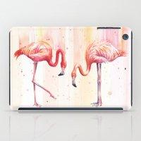 Two Flamingos Watercolor   Pink Rain  iPad Case