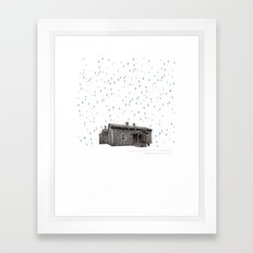 Cabin In The Rain Framed Art Print