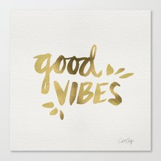 Good Vibes – Gold Ink Canvas Print